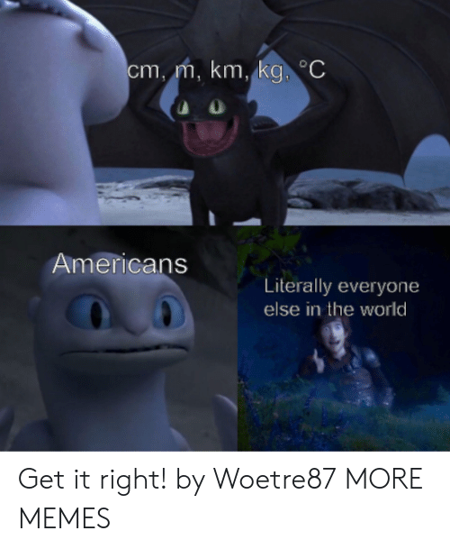 Dank, Memes, and Target: cm,m, km, kg C  Americans  Literally everyone  else in the world Get it right! by Woetre87 MORE MEMES