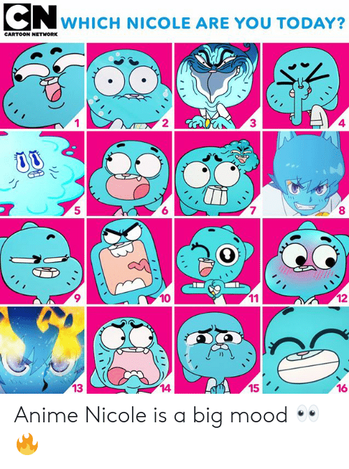 Anime, Cartoon Network, and Memes: CN wHICH NICOLE ARE YOU TODAY?  CARTOON NETWORK  2  3  4  5  6  7  8  10  12  13  14  15  16 Anime Nicole is a big mood 👀🔥