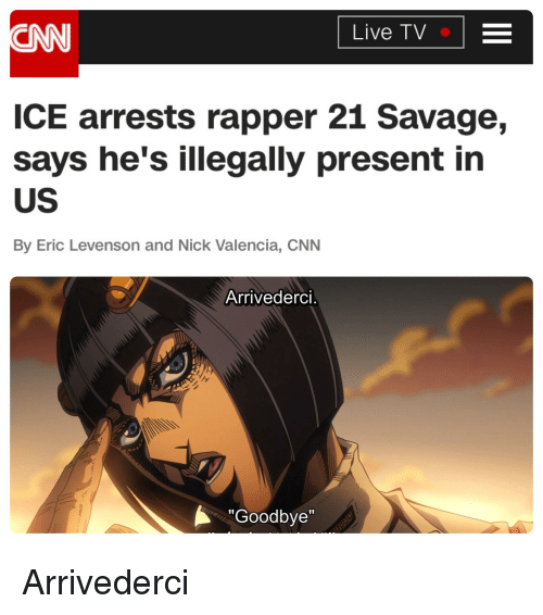 """cnn.com, Savage, and Live: CNN  Live TV  ICE arrests rapper 21 Savage,  says he's illegally present in  US  By Eric Levenson and Nick Valencia, CNN  Arrivederci.  Goodbye"""""""