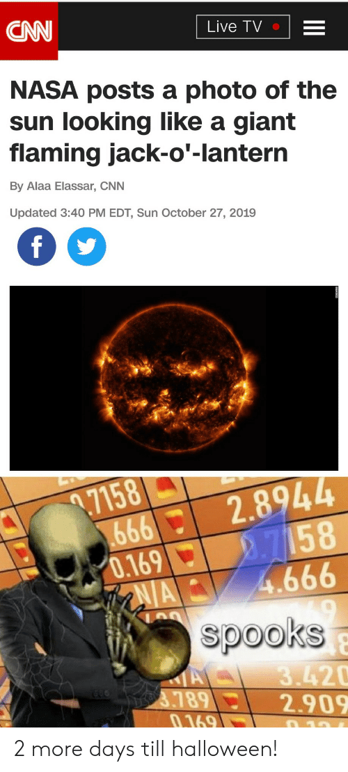 cnn.com: CNN  Live TV  NASA posts a photo of the  sun looking like a giant  flaming jack-o'-lantern  By Alaa Elassar, CNN  Updated 3:40 PM EDT, Sun October 27, 2019  f  .7158  666  0.169  AIA  2.8944  2.7158  4.666  spooks  A  3789  0.169  3.420  2.909  10 2 more days till halloween!