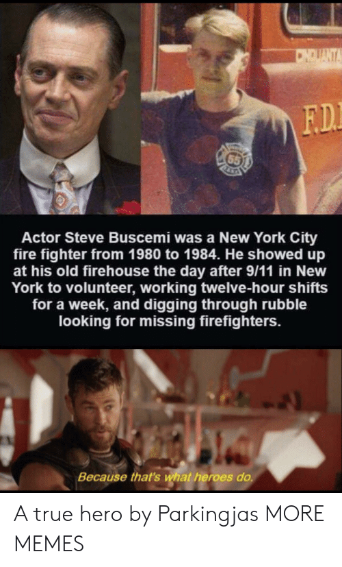 twelve: CNOUANT  F.D  65  Actor Steve Buscemi was a New York City  fire fighter from 1980 to 1984. He showed up  at his old firehouse the day after 9/11 in New  York to volunteer, working twelve-hour shifts  for a week, and digging through rubble  looking for missing firefighters.  Because that's what heroes do A true hero by Parkingjas MORE MEMES