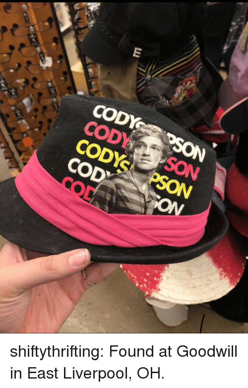 cod: CODYSON  CODYS PSON  COD  ON  OD shiftythrifting:  Found at Goodwill in East Liverpool, OH.