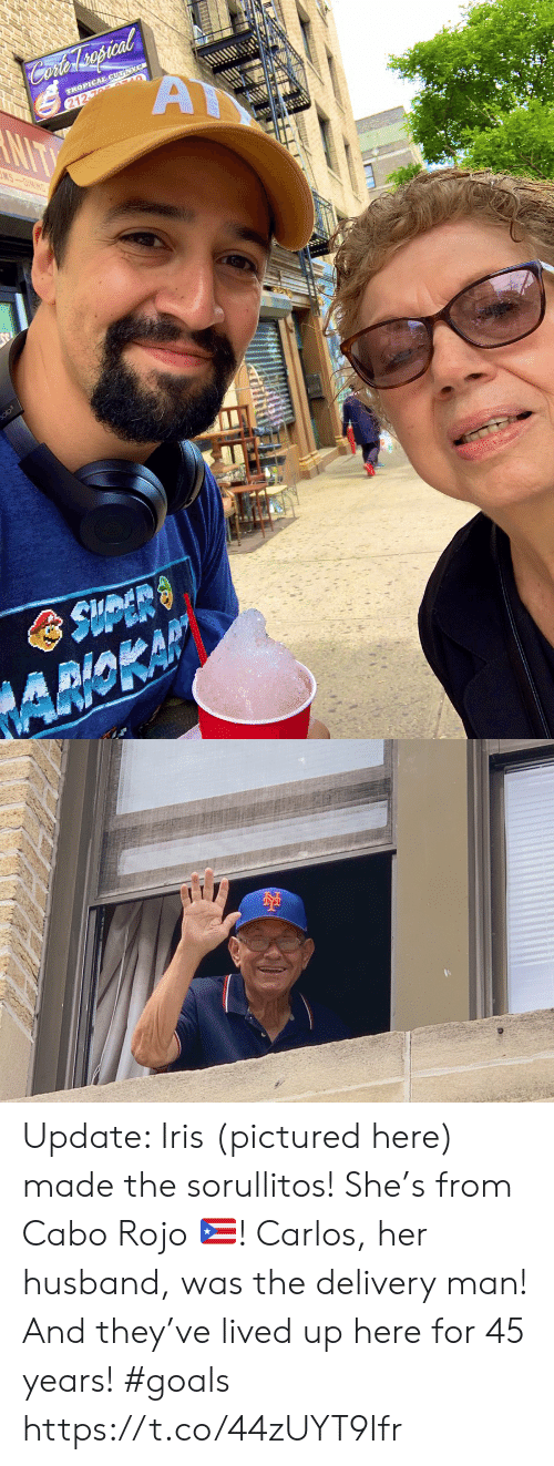 Iris: Cofer spcal  A  TROPICAL CUT NYC  212-76 AULO  NIT  MS-OINING  olo3  AMOKAP Update: Iris (pictured here) made the sorullitos! She's from Cabo Rojo 🇵🇷! Carlos, her husband, was the delivery man! And they've lived up here for 45 years! #goals https://t.co/44zUYT9Ifr