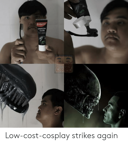 Cost: Colgate  CHARCOAL  CLEAN Low-cost-cosplay strikes again