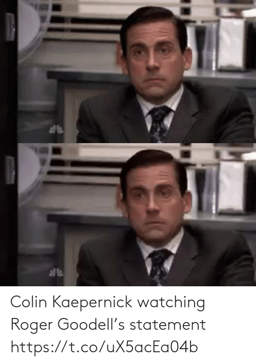 watching: Colin Kaepernick watching Roger Goodell's statement https://t.co/uX5acEa04b