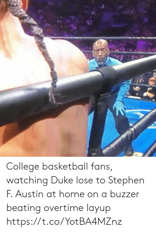 Basketball, College, and College Basketball: College basketball fans, watching Duke lose to Stephen F. Austin at home on a buzzer beating overtime layup https://t.co/YotBA4MZnz