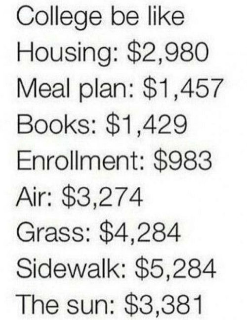 housing: College be like  Housing: $2,980  Meal plan: $1,457  Books: $1,429  Enrollment: $983  Air: $3,274  Grass: $4,284  Sidewalk: $5,284  The sun: $3,381
