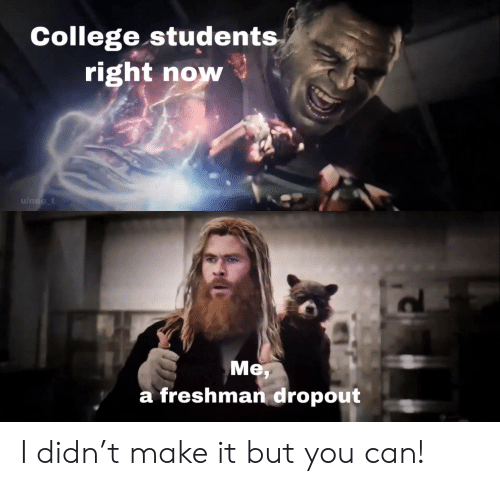 College, Can, and Neo: College students  right now  u/neo_t  Me  a freshman dropout I didn't make it but you can!