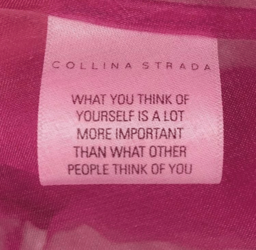 think of you: COLLIN ASTRA D  WHAT YOU THINK OF  YOURSELF IS A LOT  MORE IMPORTANT  THAN WHAT OTHER  PEOPLE THINK OF YOU