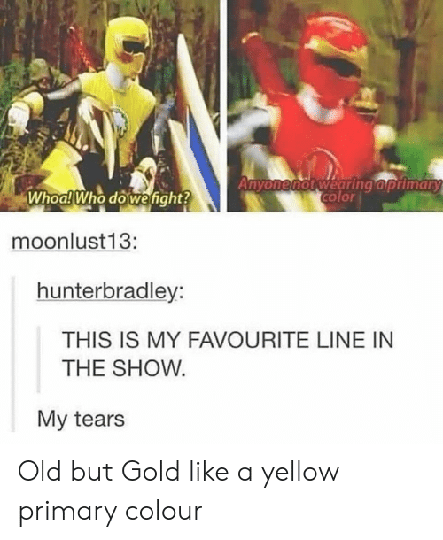 Old, Gold, and Who: color  Whoa! Who dowefight?  moonlust13:  hunterbradley:  THIS IS MY FAVOURITE LINE IN  THE SHOW  My tears Old but Gold like a yellow primary colour