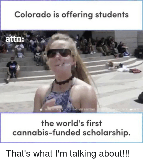 Thats What Im Talking About: Colorado is offering students  attn:  the world's first  cannabis-funded scholarship That's what I'm talking about!!!
