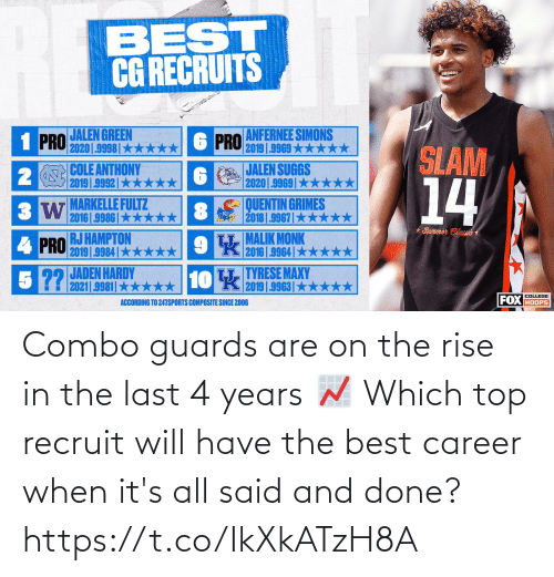 top: Combo guards are on the rise in the last 4 years 📈   Which top recruit will have the best career when it's all said and done? https://t.co/IkXkATzH8A