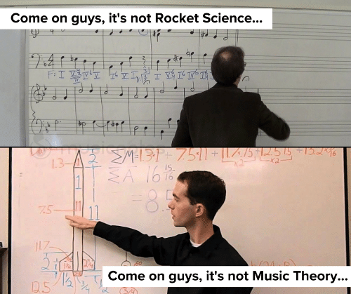 Music, Science, and Music Theory: Come on guys, it's not Rocket Science...  be  I  >M=131+ 7511+ILZ/5 * |255  SA 1616  46  2 2  7.5-  17  Come on guys, it's not Music Theory...