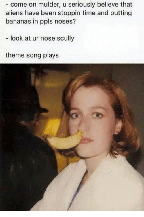 U Serious: come on mulder, u seriously believe that  aliens have been stoppin time and putting  bananas in ppls noses?  look at ur nose scully  theme song plays