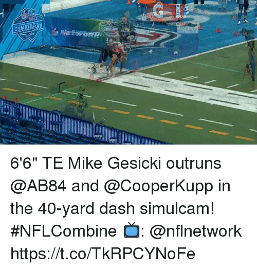 "Comi: COMI  18 6'6"" TE Mike Gesicki outruns @AB84 and @CooperKupp in the 40-yard dash simulcam! #NFLCombine  📺: @nflnetwork https://t.co/TkRPCYNoFe"