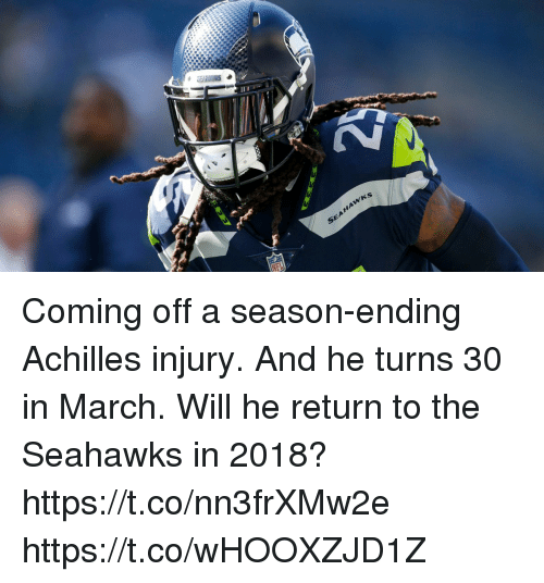 Memes, Seahawks, and 🤖: Coming off a season-ending Achilles injury. And he turns 30 in March.  Will he return to the Seahawks in 2018? https://t.co/nn3frXMw2e https://t.co/wHOOXZJD1Z