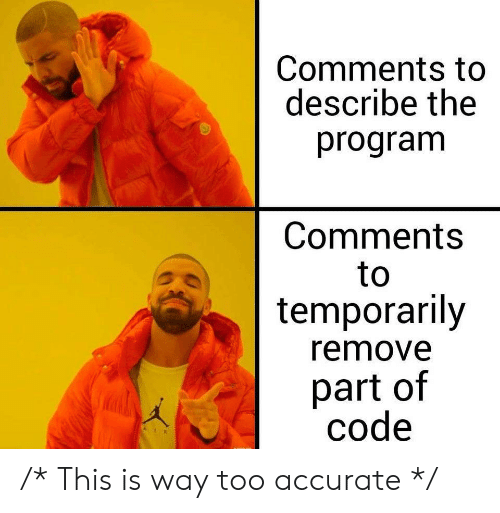 Code, Comments, and Program: Comments to  describe the  program  Comments  to  temporarily  remove  part of  code /* This is way too accurate */
