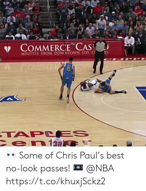 Chris Paul: COMMERCE CAS  MINUTES FROM DOWNTOWN LOS  15  TAPC ES  en13a 👀 Some of Chris Paul's best no-look passes!    📼 @NBA https://t.co/khuxjSckz2
