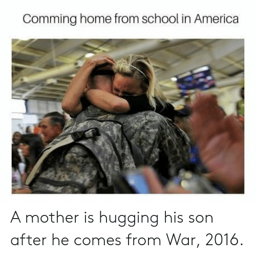 America, School, and Home: Comming home from school in America A mother is hugging his son after he comes from War, 2016.