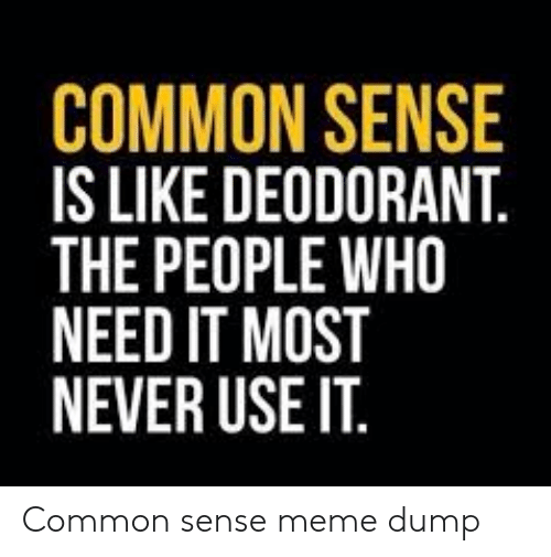Common Sense: COMMON SENSE  IS LIKE DEODORANT.  THE PEOPLE WHO  NEED IT MOST  NEVER USE IT. Common sense meme dump