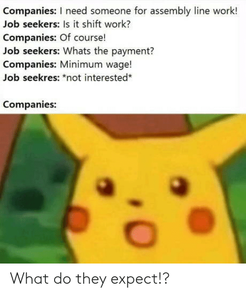 "Minimum Wage: Companies: I need someone for assembly line work!  Job seekers: Is it shift work?  Companies: Of course!  Job seekers: Whats the payment?  Companies: Minimum wage!  Job seekres: ""not interested*  Companies: What do they expect!?"