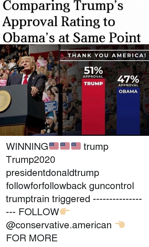 Obamas: Comparing Trump's  Approval Rating to  Obama's at Same Point  THANK YOU AMERICA!  51%  APPROVAL  47%  TRUMP  APPROVAL  OBAMA WINNING🇺🇸🇺🇸🇺🇸 trump Trump2020 presidentdonaldtrump followforfollowback guncontrol trumptrain triggered ------------------ FOLLOW👉🏼 @conservative.american 👈🏼 FOR MORE
