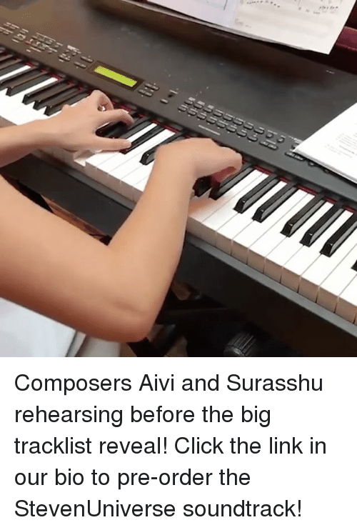 Tracklist: Composers Aivi and Surasshu rehearsing before the big tracklist reveal! Click the link in our bio to pre-order the StevenUniverse soundtrack!