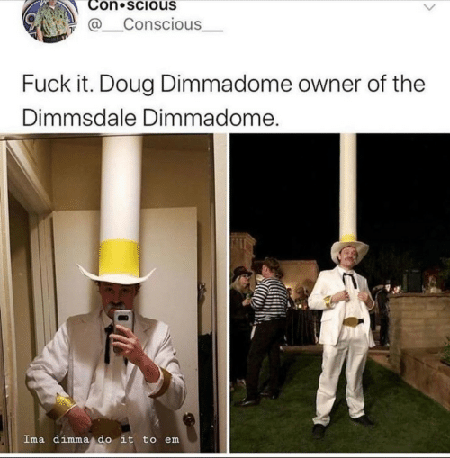 Doug, Fuck, and Fuck It: Con scious  @Conscious  Fuck it. Doug Dimmadome owner of the  Dimmsdale Dimmadome.  Ima dimma do it to em