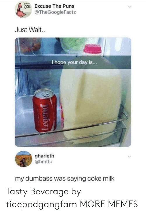 Dank, Memes, and Puns: CONE Excuse The Puns  @TheGoogleFactz  Just Wait  I hope your day is...  gharieth  @hmtfu  my dumbass was saying coke milk Tasty Beverage by tidepodgangfam MORE MEMES