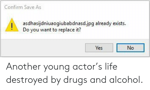 Drugs And Alcohol: Confirm Save As  Iasdhasijdniuaogiubabdnasd.jpg already exists.  Do you want to replace it?  es  No Another young actor's life destroyed by drugs and alcohol.
