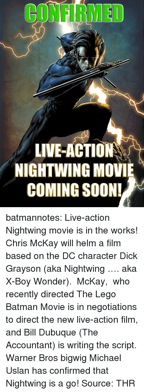 Batman, Lego, and Soon...: CONFIRMED  LIVE-ACTION  NIGHTWING MOVIE  COMING SOON! batmannotes: Live-action Nightwing movie is in the works!   Chris McKay will helm a film based on the DC character Dick Grayson (aka Nightwing …. aka X-Boy Wonder).  McKay,  who recently directed The Lego Batman Movie is in negotiations to direct the new live-action film, and Bill Dubuque (The Accountant) is writing the script.       Warner Bros bigwig Michael Uslan has confirmed that Nightwing is a go! Source: THR