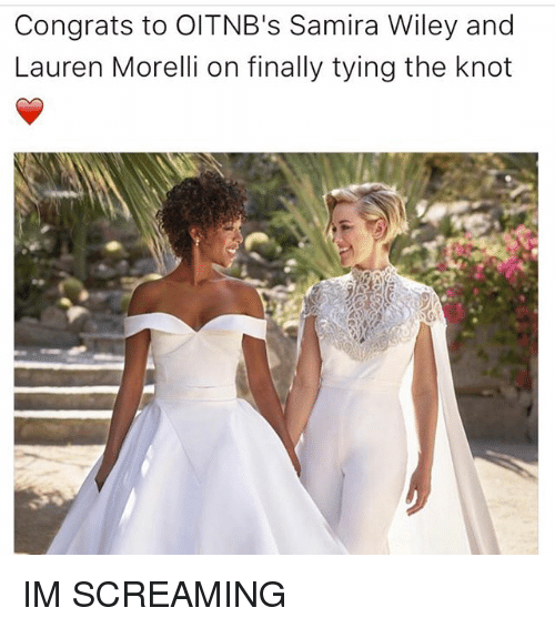 wiley: Congrats to Old TNB's Samira Wiley and  Lauren Morelli on finally tying the knot IM SCREAMING