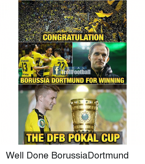 congratulation: CONGRATULATION  PULISIC  R E A L  BORUSSIA DORTMUND FOR WINNING  THE DFB POKAL CUP Well Done BorussiaDortmund