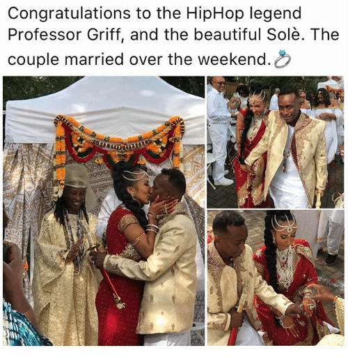 the weekenders: Congratulations to the HipHop legend  Professor Griff, and the beautiful Solè. The  couple married over the weekend.