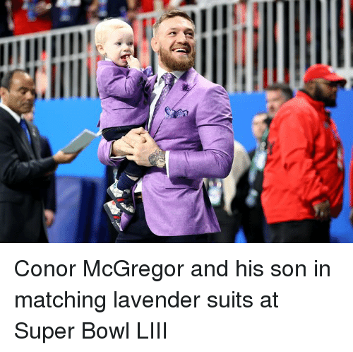 Suits: Conor McGregor and his son in matching lavender suits at Super Bowl LIII