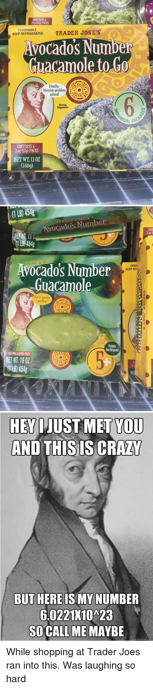 "Quickmeme Com: CONTAINS 6  2 oz (57g) PACKS  PERISHABLE,  KEEP REFRIGERATED  Avocado's Number  Guacamole to Go  Finally  solved!  Serving  Suggestion  UAL PAC  ishable  CONTAINS 6  2 oz (57g) PACKS  NET WT. 12 02  340g)   (1 LB) 454g  To  RADER JOSES  Avocado's Number  CON  0Z  1LB 454g  avocados  Avocado's Number  Guacamole  TRADER JOSE'S  PERI  KEEP RE  let's party  arriba!""  Paishable  erp Retigeated  2-8 OZ PEEL &SERVE TRAYS  NET WT. 16 0Z  1 B) 454g  b0  Ocados   HEV IJUST MET YOU  AND THIS IS CRAZ  BUT HERE IS MY NUMBER  6.0221K10A23  SO CALL ME MAYBE  quickmeme.com While shopping at Trader Joes ran into this. Was laughing so hard"