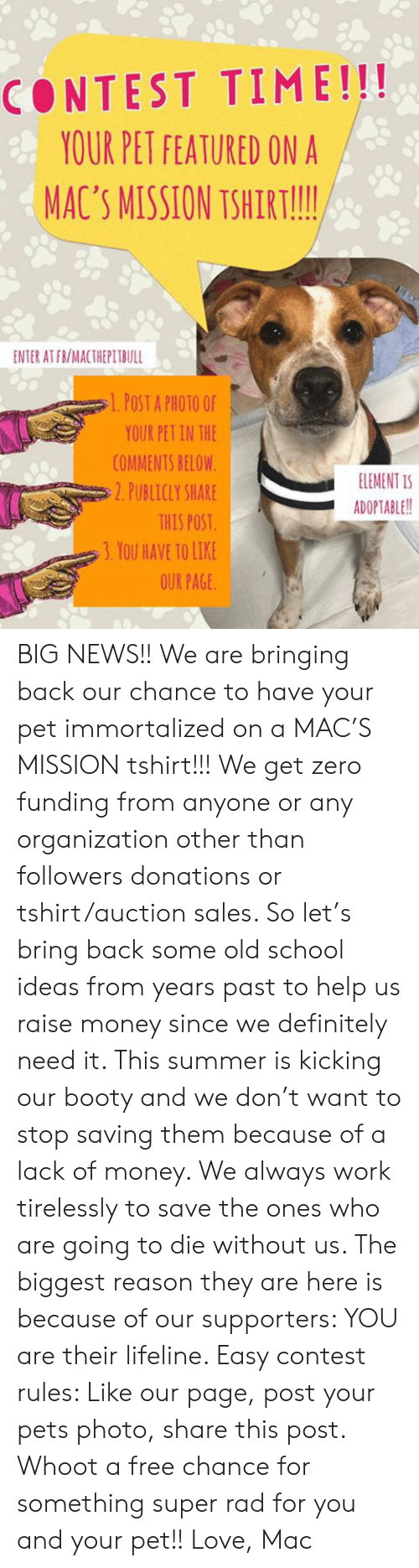 Booty, Definitely, and Love: CONTEST TIME!!!  YOUR PET FEATURED ON A  MAC'S MISSION TSHIRT!!!  ENTER AT FB/MACTHEPITBULL  l. POST A PHOTO OF  YOUR PET IN THE  COMMENTS BELOW  ELEMENT IS  2. PUBLICLY SHARE  ADOPTABLE!!  THIS POST  3. YOU HAVE TO LIKE  OUR PAGE BIG NEWS!! We are bringing back our chance to have your pet immortalized on a MAC'S MISSION tshirt!!! We get zero funding from anyone or any organization other than followers donations or tshirt/auction sales. So let's bring back some old school ideas from years past to help us raise money since we definitely need it. This summer is kicking our booty and we don't want to stop saving them because of a lack of money. We always work tirelessly to save the ones who are going to die without us. The biggest reason they are here is because of our supporters: YOU are their lifeline. Easy contest rules: Like our page, post your pets photo, share this post. Whoot a free chance for something super rad for you and your pet!!   Love, Mac