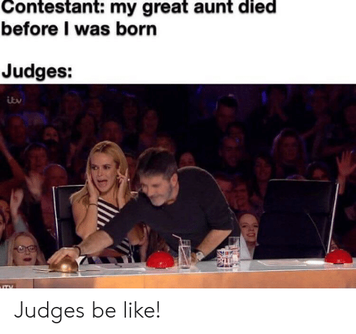 aunt: Contestant: my great aunt died  before I was born  Judges:  ITY Judges be like!