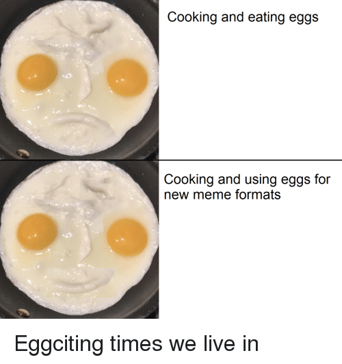 Meme, Live, and New: Cooking and eating eggs  Cooking and using eggs for  new meme formats Eggciting times we live in