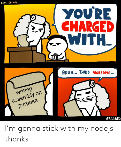 bruh: COOL CRIMES  YOU'RE  CHARGED  WITH..  BRUH... THATS AWESOME...  writing  assembly on  purpose  SRGRAFO I'm gonna stick with my nodejs thanks