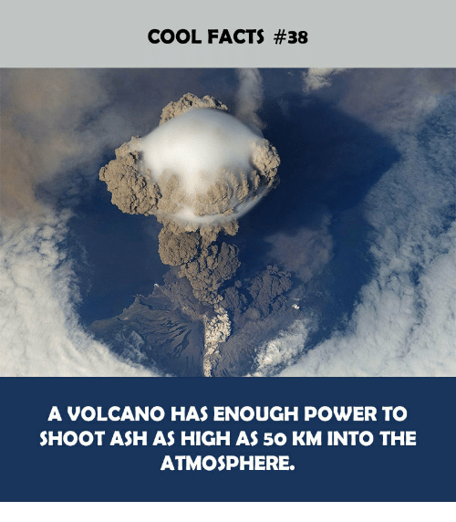 Ash, Facts, and Cool: COOL FACTS #38  A VOLCANO HAS ENOUGH POWER TO  SHOOT ASH AS HIGH AS 50 KM INTO THE  ATMOSPHERE.
