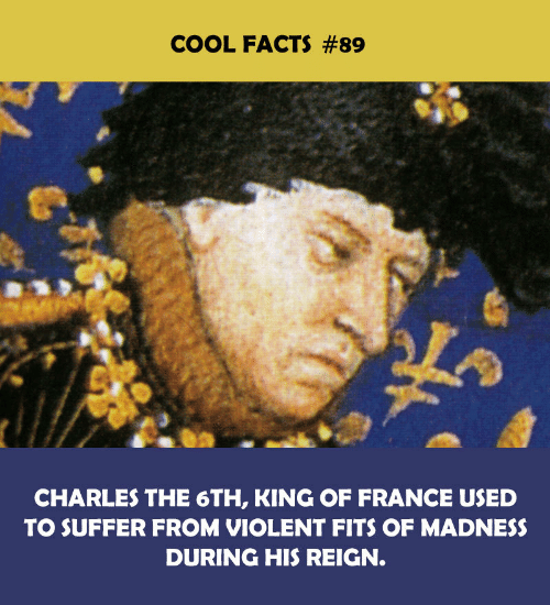 Facts, Cool, and France: COOL FACTS #89  CHARLES THE 6TH, KING OF FRANCE USED  TO SUFFER FROM VIOLENT FITS OF MADNESS  DURING HIS REIGN.