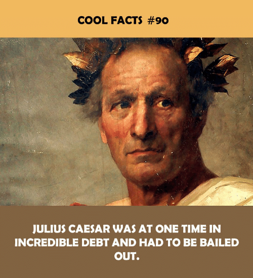 Facts, Cool, and Julius Caesar: COOL FACTS #90  JULIUS CAESAR WAS AT ONE TIME IN  INCREDIBLE DEBT AND HAD TO BE BAILED  OUT.