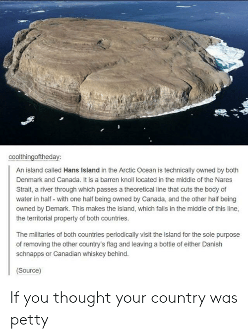 the island: coolthingoftheday:  An island called Hans Island in the Arctic Ocean is technically owned by both  Denmark and Canada. It is a barren knoll located in the middle of the Nares  Strait, a river through which passes a theoretical line that cuts the body of  water in half- with one half being owned by Canada, and the other half being  owned by Demark. This makes the island, which falls in the middle of this line,  the territorial property of both countries.  The militaries of both countries periodically visit the island for the sole purpose  of removing the other country's flag and leaving a bottle of either Danish  schnapps or Canadian whiskey behind.  Source) If you thought your country was petty