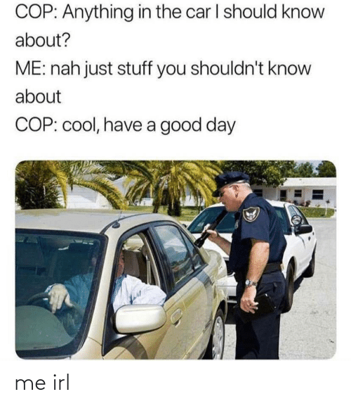 nah: COP: Anything in the car I should know  about?  ME: nah just stuff you shouldn't know  about  COP: cool, have a good day me irl