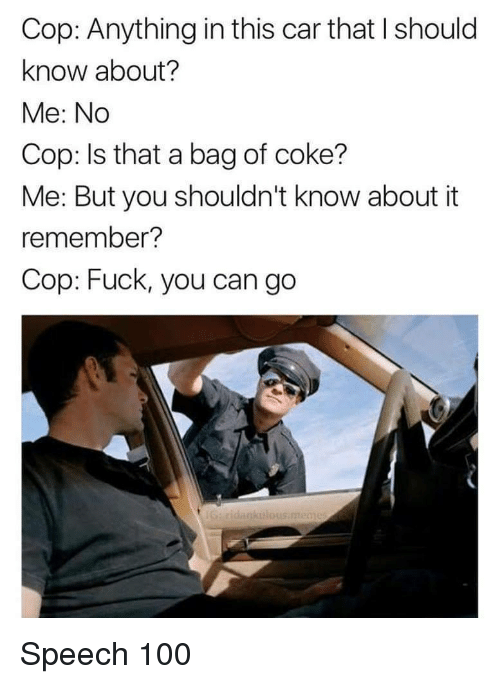 Anaconda, Fuck You, and Fuck: Cop: Anything in this car that I should  know about?  Me: No  Cop: Is that a bag of coke?  Me: But you shouldn't know about it  remember?  Cop: Fuck, you can go  aku Speech 100