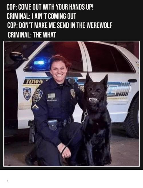 Werewolf, Criminal, and Cop: COP: COME OUT WITH YOUR HANDS UP!  CRIMINAL: I AIN'T COMING OUT  COP: DON'T MAKE ME SEND IN THE WEREWOLF  CRIMINAL: THE WHAT  TOWN  1 .
