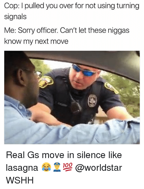 Memes, Sorry, and Worldstar: Cop: I pulled you over for not using turning  signals  Me: Sorry officer. Can't let these niggas  know my next move Real Gs move in silence like lasagna 😂👮💯 @worldstar WSHH