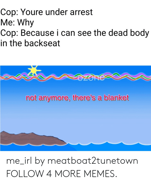 Backseat: Cop: Youre under arrest  Me: Why  Cop: Because i can see the dead body  in the backseat  OZONE  not anymore, there's a blanket me_irl by meatboat2tunetown FOLLOW 4 MORE MEMES.
