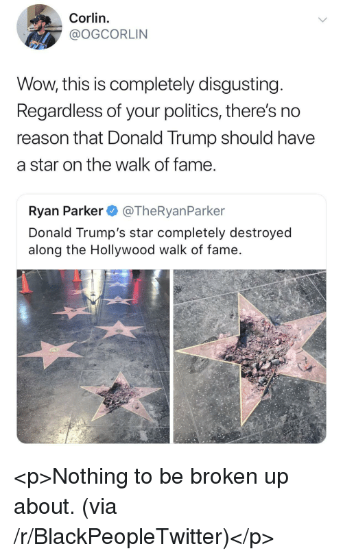The Walk: Corlin.  @OGCORLIN  Wow, this is completely disgusting  Regardless of your politics, there's no  reason that Donald Trump should have  a star on the walk of fame  Ryan Parker @TheRyanParker  Donald Trump's star completely destroyed  along the Hollywood walk of fame <p>Nothing to be broken up about. (via /r/BlackPeopleTwitter)</p>